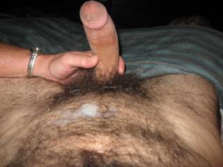 Oh my God, this is so freaking hot!!!  LOVE seeing that cum all over your husband's hairy belly.  Wow!  Wow!  WOW!!  Extraordinarily sexy.