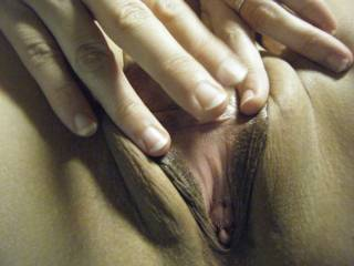 wife shows off tasty pink insides, and her unimaginably TIGHT hole