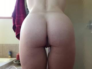 My wife\'s sexy ass with a hint of her pussy