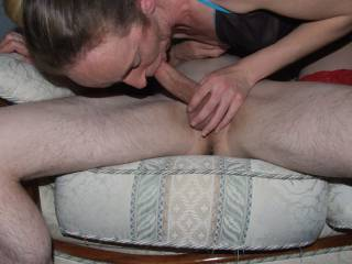Joanne sucking our friends cock