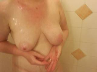Hopped in the shower on vacation, and hubby couldn\'t leave me alone!