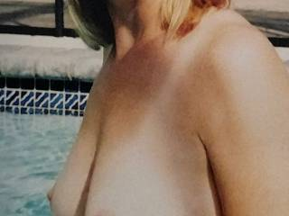 Wife loves going topless in the pool!!!