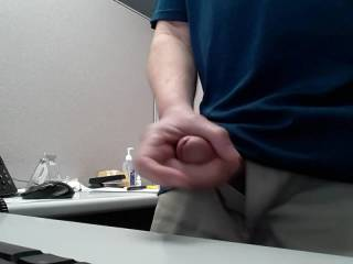 So this website is making me horny all day long, I was going to jerk off at home tonight,  I couldn\'t wait,  so here\'s my cum shot at my desk