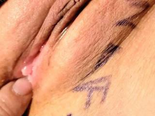 J playing with her creampie pussy with my tribute! I am gonna have to cum all over it now!