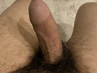 A close up of my uncut erect penis