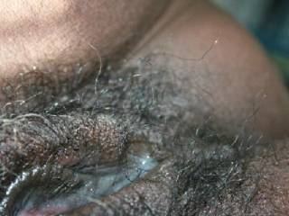 definitely love more, those wet lips with all that cum...mmmmmmmmmm. love the hair too, let's see some fingers inside