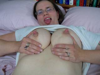 rock hard nipple, a sweet set of tits and open mouth a little oil what a wonderful plase to blow a load