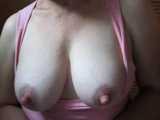 i've had similar handjobs before, but their nipples could usually poke into the slit on the tip of my cock. i know for a fact that your luscious nipples are way too big and stiff for that to happen... guess i'll just have to coat them with a nice, warm load of spunk!