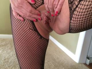Just lower that sexy pussy down on my face in that crotchless body stocking. Mmmmm. I will suck that clit in my mouth and flick it until your cream runs down my chin.