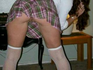 Mmmmmm I\'m a naughty little school girl bent over and waiting for my lesson..... I really need and A in this subject