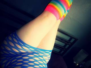 What do you think of my colorful outfit?  Would I be rewarded with kisses and a cock in my mouth?  Or punished with a stern spanking on my thick ass?