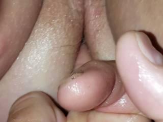 Getting a finger in her rosebud