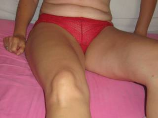 Matching red bra and panties - a nice view