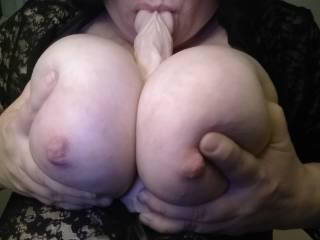 Would love to feel a real hard cock between my big tits