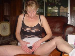 love that outfit, you have a nice pussy with nice hard clit:)