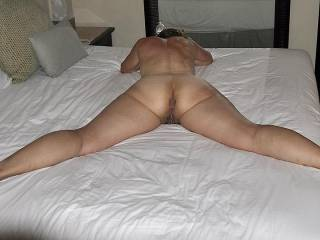 wow love the spread, we could be both on the bed with her touching her sexy body with our tongues and hands rubbing her down getting her all wet and horny for two cocks.