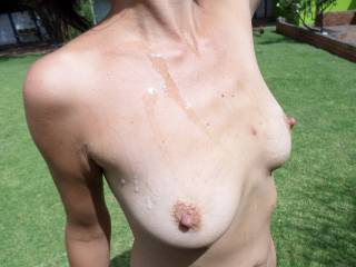 lovely crinkly skinned areola round those gorgeous organ stop nipples I'd love to suck in the warm South African sun