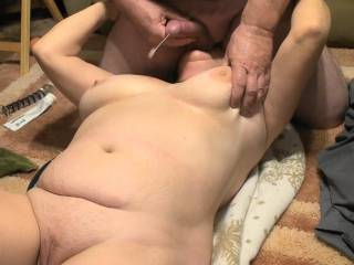 These 4 consecutive photos are a time lapse of me spraying a cum shot onto her tit\'s as she is sucking on my balls. Felt so damn good.  Love cumming in this position, how about you?  And Ladies do you like sucking on clean shaven balls??