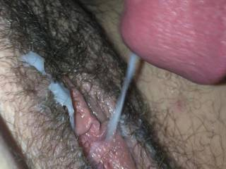 And this is what i love doing.  Cumming deep inside and all over that tight pussy.  Where do you ladies like the cumshot. Let me know.  My cum is always warm and tasty, that's I heard.  Hit me up