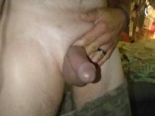 Fucking horny as hell and I am having to wait for my turn to get my dick sucked by my wife! She\'s got her hands full of meat at the moment. She had 1 big dick in her mouth holding one and there was 2 fat black dicks double penetrating her wet pretty pussy