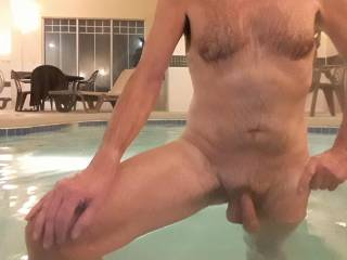 On the road: Very late at night in this huge hotel hot tub. Would you like to be here, naked with me?