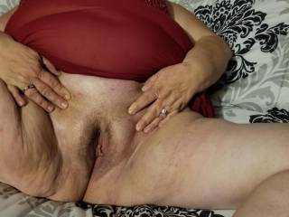 Wife spread her pussy waiting for my cock.