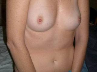 Her tits are lovely pale little champagne cups capped with little pink eraser tips, truly delightful - Please be sure to extend my appreciation to her.