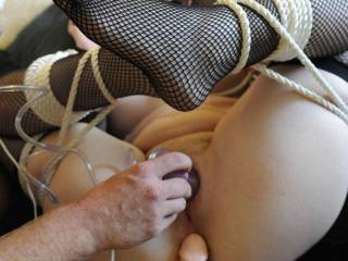 I\'m all tied up and my hubby is taking advantage of every hole!
