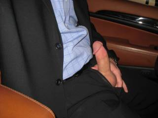 Very hot pic! Love a man in a suit with a hard cock ready for some sucking and fucking...yum!!