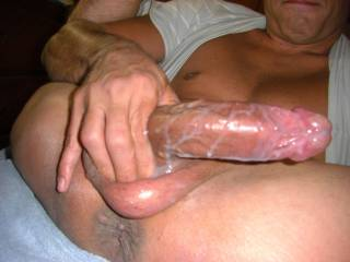 that is alot of cum.looks beautiful all over your cock.wish i was there to lick it off your cock.actually i would really like to suck your cock and have all that sperm in my mouth and down my throat.im getting very excited imagining your beautiful,vieny cock in my mouth and load of cum hitting the back of my throat.what a nice cock and nice white milky cum.wish i could taste it.