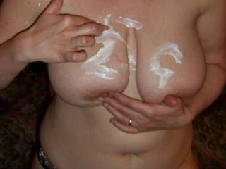 WHOSE CREAM IS IT?, NEVERMIND I WOULD LICK ANYTHING OFF YOUR TITS....