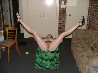 My sex slut spreading her legs on our weekend away.
