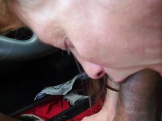 More pics of me with Cyndi the office Slut. Here she is Sucking my Black Cock in the Company Parking lot during our lunch break. Her asshole racist husband was in the building about 10yards from us and didn't have a clue his beloved white wife was in my c