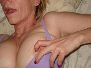 beautiful boobs of his wife suck love them
