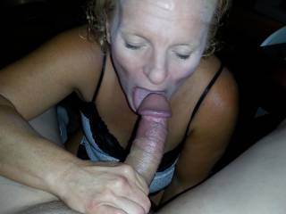 WOW  !!! She looks so great with your big, stiff cock in her mouth.  More please.