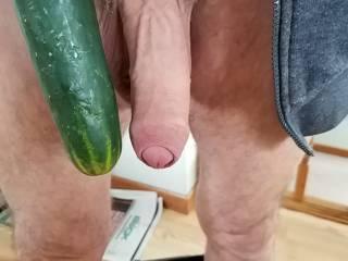 not as big as a cucumber, but much warmer and softer to the touch, I think I\'d get nice n hard in your mouth.