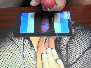 Shooting my sticky cum rope on campingcunt\'s pussy tribute pic she made for my tasty cum! I over shot my jizz load stroking to hard!!!