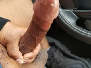 Horny...All that precum would make it real easy to slide every last  inch of my BBC deep inside your wet holes...