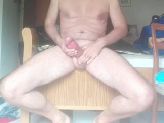 me jerking my fat pumped cock (23x7cm)
