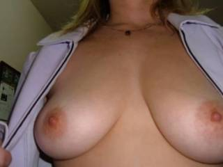 Wow! Beautiful! I'd love to slide my hard cock between those lovely tits.