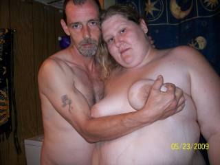 Wish that was me so I could feel your big cock pressing into my huge belly! What a sexy couple! Hugs Bg