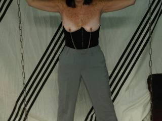 After work bondage fun.. Nipple clamps on.. Anybody want to cum over a give them a tug?
