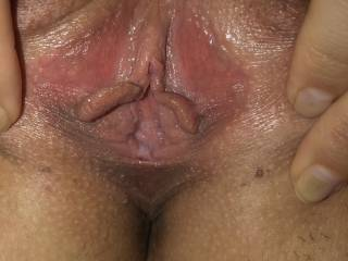 You can see my little hole getting wet. Would this little pussy make you cum?