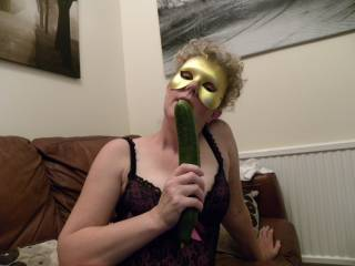 a little bit of cock sucking training with a cucumber