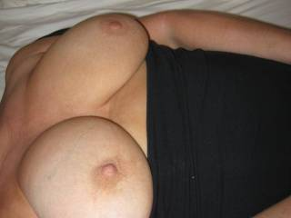 my wife would love to feel your cock between her tit\'s,she loves a pearl necklace..