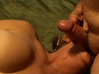 Frame eight of eight of me blasting a shot of cum about 3 feet to my girlfriends knees while she is sucking and tugging on my balls. Hadn\'t seen her for a week and I was backed up to say the least. Do you like to see the cum fly????