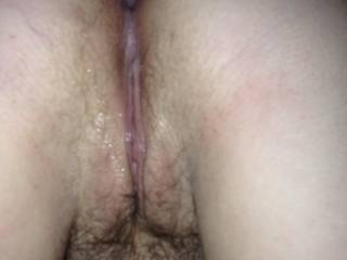My wife\'s pussy after a good pounding from some guys big fat cock