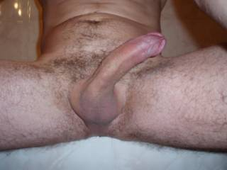 Yes it is a beautiful size and its a beautiful cock.  I would be sucking on it all the time if I were your lady.  Another great cock shot....K