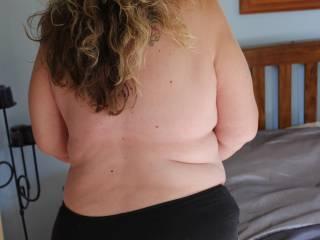 My bbw ass in black panties.
