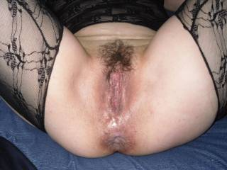 OMG!! Love that sweet hairy pussy and the sexy stockings!!